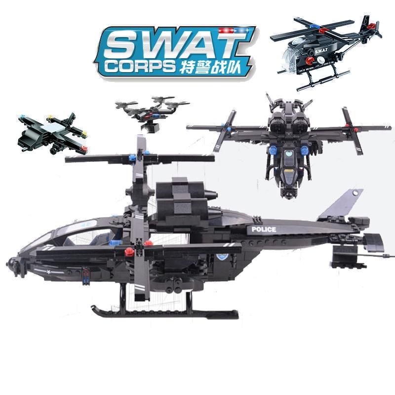 542pcs Children s educational building blocks toy Compatible city SWAT Series Falcon Gunship DIY figures Bricks