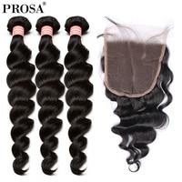 3Pcs Loose Wave Human Hair Bundles With Closure 4Pcs Brazilian Hair Weave Bundles With Closure 5x5 Free Part Prosa Remy