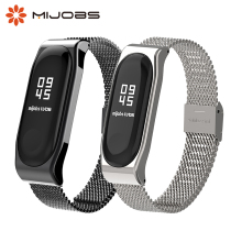 for xiaomi Mi Band 3 Strap Mijobs Bracelet wrist strap band3 Smart MiBand Wristband black Metal