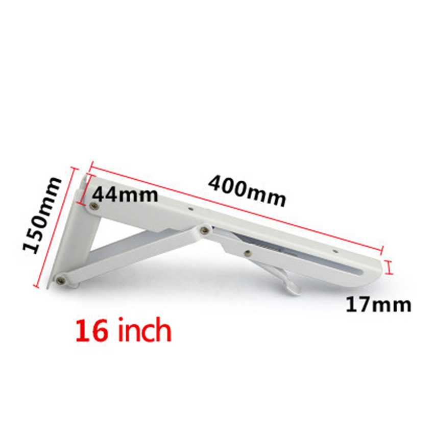 2Pcs set White triangular Folding Bracket Metal Release Catch Support Bench Table Folding Shelf Bracket Home in Brackets from Home Improvement