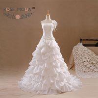 One Shoulder A Line Wedding Dress Pearl Beaded Flowers Lace Corset Vestidos de Noiva Real Photos