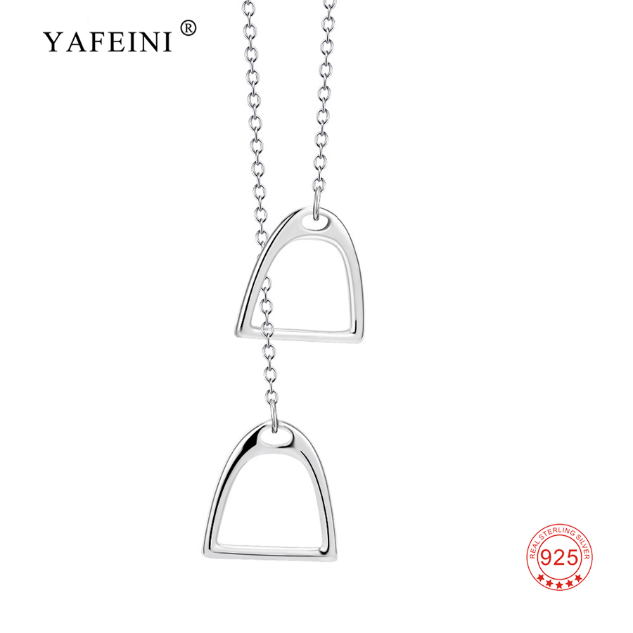 YAFEINI Real 925 Sterling Silver Necklace Lucky Double Stirrup Pendant Necklace Choker For Women Girl Gift Fine Jewelry Necklace