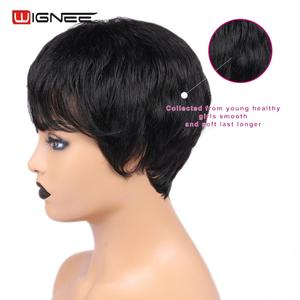 Image 3 - Wignee Short Straight Hair Human Wigs Free Bangs for Black Women Remy Brazilian Natural Soft Hair Pixie Cut Cheap Human Hair Wig