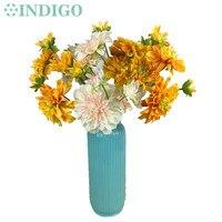 INDIGO-5 Głowice Jedwabiu Różowy Kwiat Dalia Spray Duży Stokrotka Kwiat Ślub Sztuczny Kwiat Floral Event Party Flower Darmo wysyłka