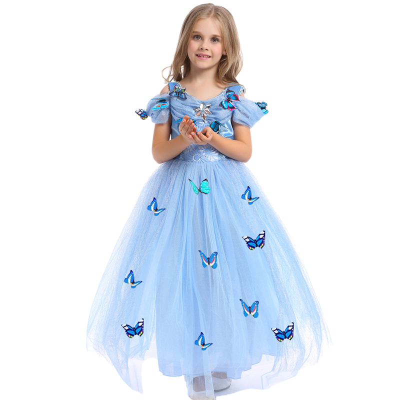 Princess Dress for 3-10Y Girls Clothes Butterfly Rapunzel Sophia Children Costume Kids Cinderella Masquerade Kigurumi Ball Gowns princess cinderella girls dress snow white kids clothing dress rapunzel aurora children cosplay costume clothes age 2 10 years