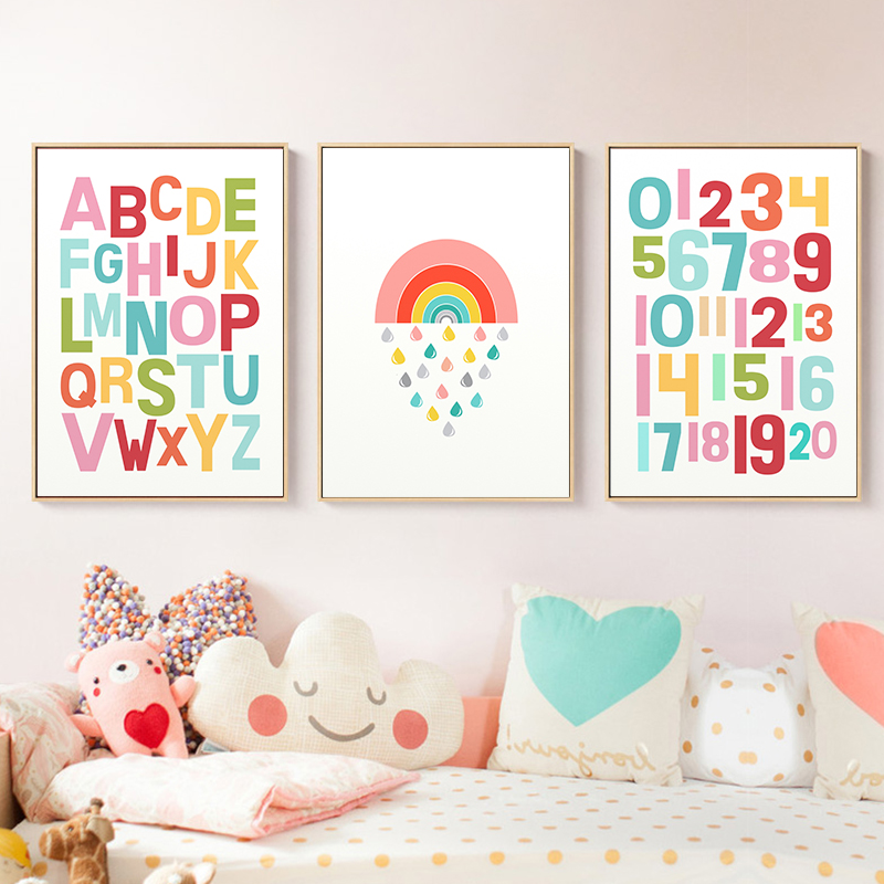 Gender Neutral Wall Art Alphabet Nursery Print Rainbow Poster Kawaii Canvas Painting Decoration Wall Pictures Girls Room Decor