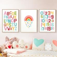 Gender Neutral Wall Art Alphabet Nursery Print Rainbow Poster Kawaii Canvas Painting Decoration Pictures Girls Room Decor