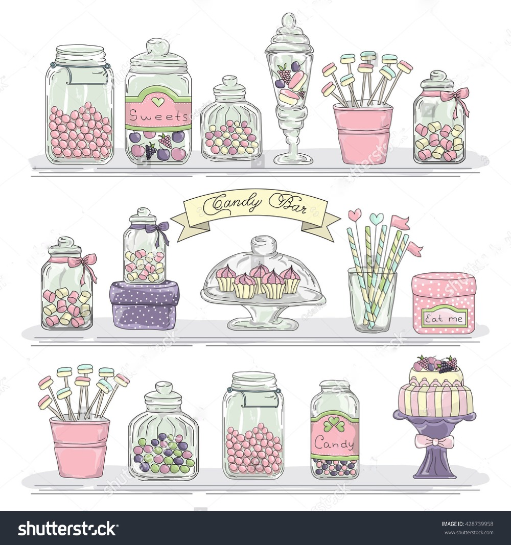 Glass Jars With Candies And Sweets Candy Bar Buffet Baby Newborn Child Wash Shower Fotografia Photo Background Vinyl