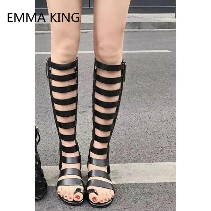 Hot Womens Summer Open Toe Gladiator Casual Sandals Flats Roman Cut Out Shoes SZ