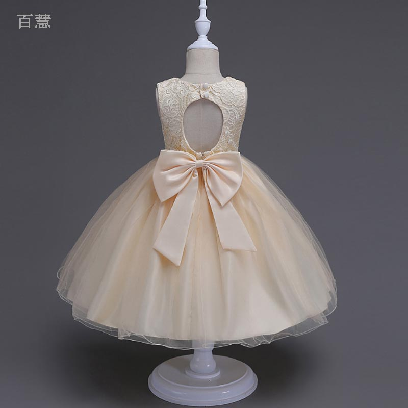 Bow Yarn Girl Long Dress for Children Girls baby Party Wedding Princess Backless Dresses lace Party Custumes birthday clothingBow Yarn Girl Long Dress for Children Girls baby Party Wedding Princess Backless Dresses lace Party Custumes birthday clothing