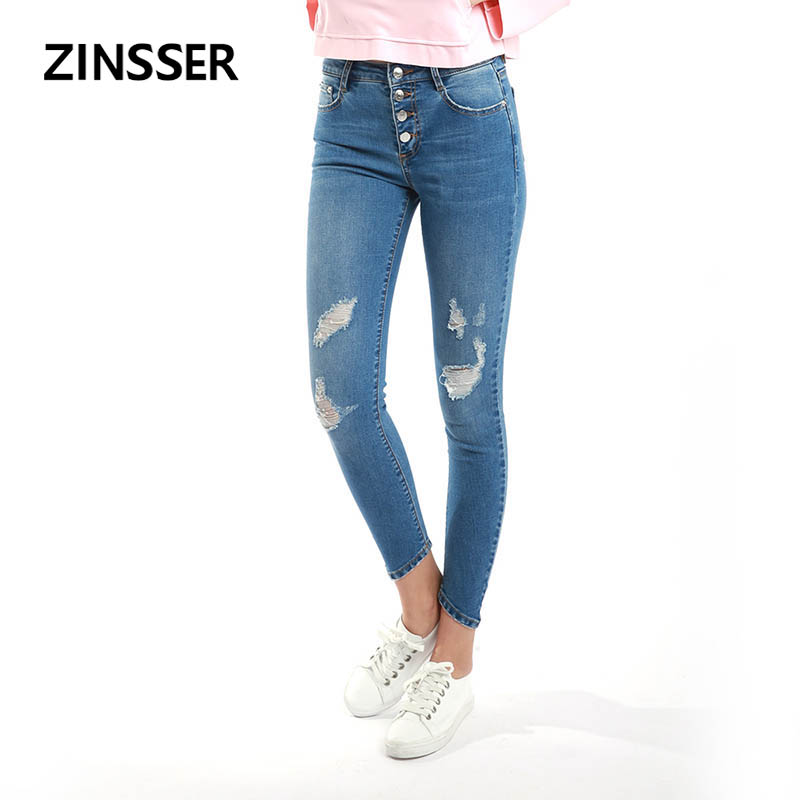 Autumn Winter Women Denim Skinny Pants Stretch Destroyed Medium Waist Button Fly Washed Blue Slim Elastic Ripped Lady Jeans