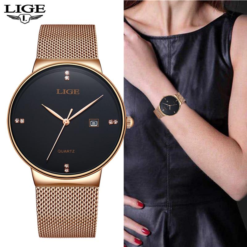 Quartz Women Watches LIGE 2020 New Fashion Casual Waterproof Watch Women Ultra-thin Mesh Belt Watch Automatic Date Clock Assista