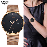 Quartz Women Watches LIGE 2019 New Fashion Casual Waterproof Watch Women Ultra thin Mesh Belt Watch Automatic Date Clock Assista