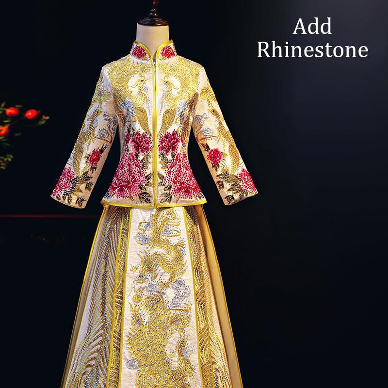 Ajouter strass broderie Phoenix & fleur Cheongsam femmes Qipao Satin Vintage classique Noble luxe mariage costume longs Vestidos