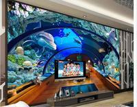 3d customized wallpaper mural 3d wallpaper Aquarium Underwater World Background Wall custom 3d wallpaper