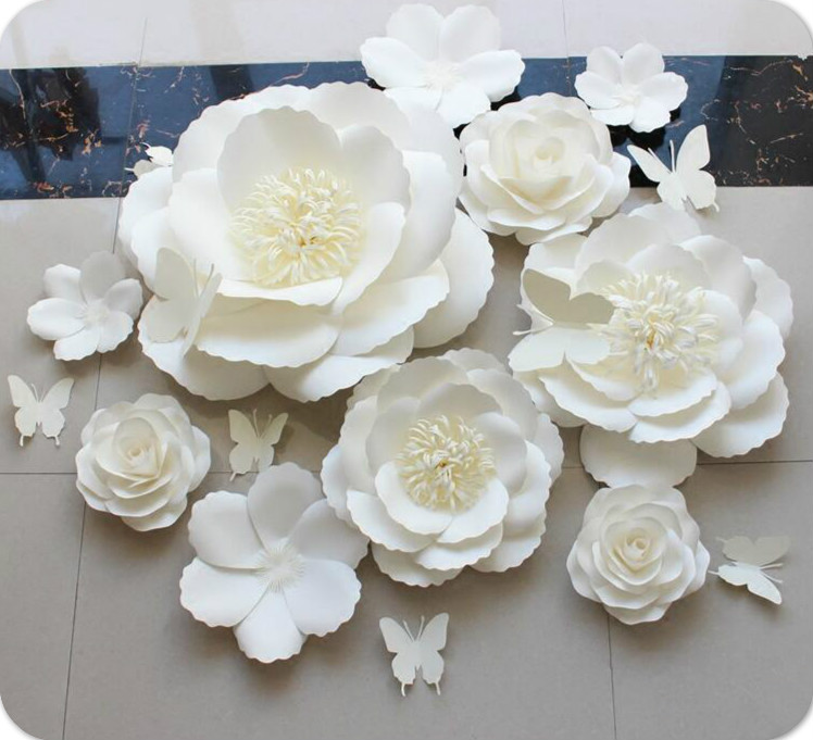 white paper flower background decoration three dimensional