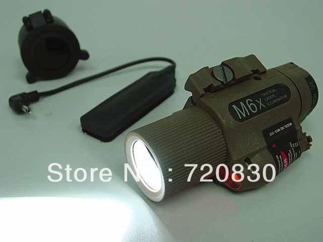 M6X CREE LED Flashlight & Red Laser w/ IR Infrared Filter Tan