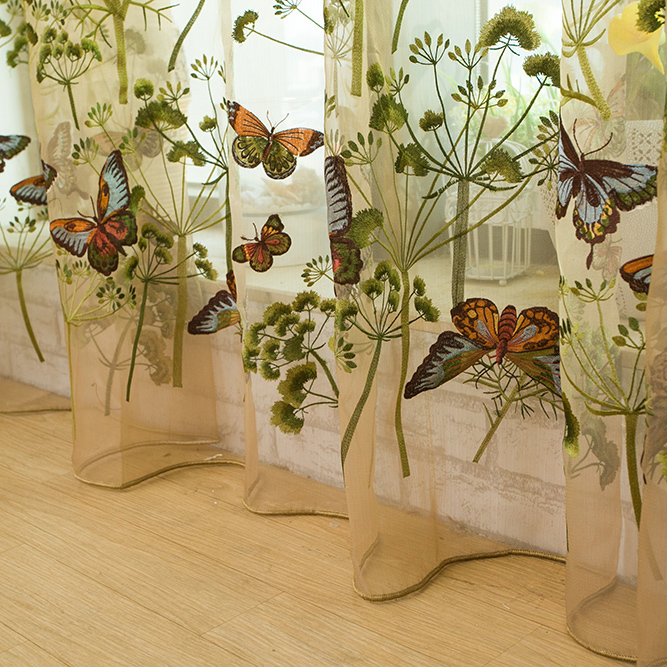 Butterfly Modern Embroidery Tulle Window Fabric Luxury Sheer Curtains For Living Room The Bedroom Kitchen