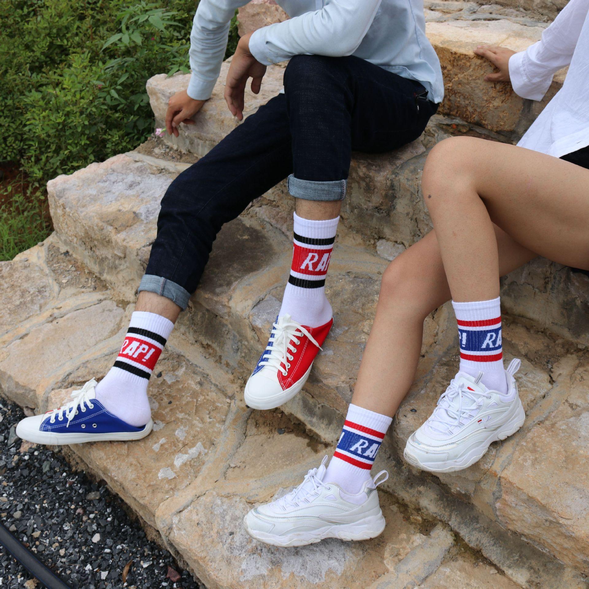Korea ins Harajuku College wind letter socks Striped two bars English skateboard socks men and women Casual fashion socks