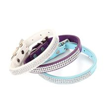 Diamond Pet Dog Collars Leather Training Leash For Small Large Dogs Collar Leash Cat Collar Harness Dog Tag Products(China)