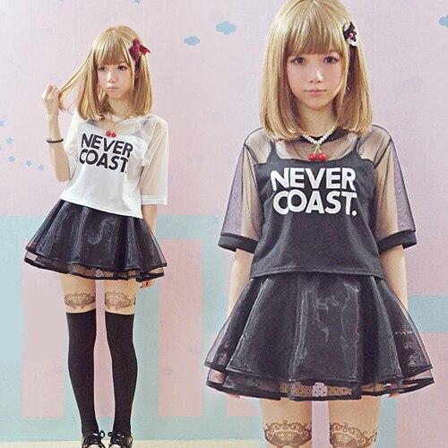 Hot sale Women Harajuku Shirts Summer Young Transparent Crop Top Gauze Patchwork Letter Printed Shorts Japan lolita T-shirts