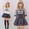 Venta caliente de Las Mujeres Harajuku Camisetas de Verano Joven Corta de Gasa Transparente Patchwork Letra Impresa Pantalones Cortos Japón lolita Camisetas