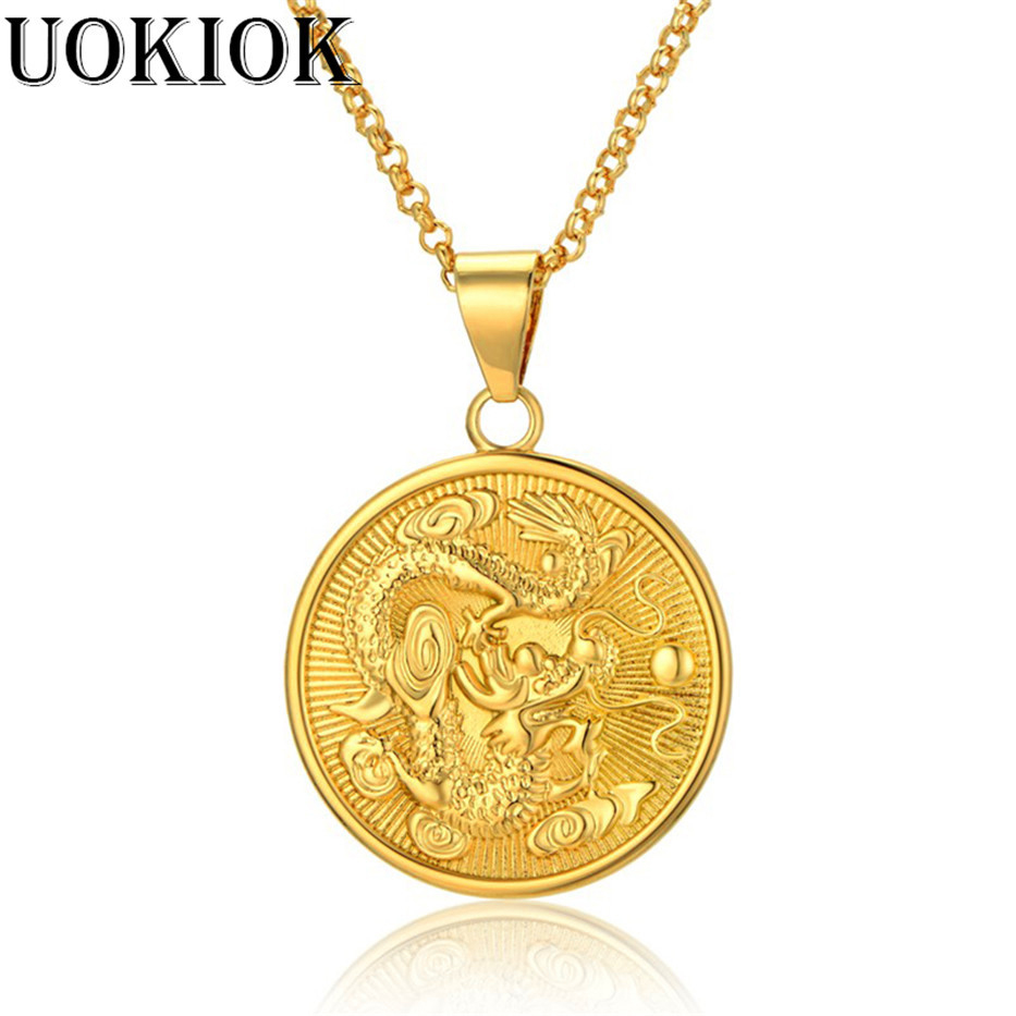 Vintage Jewelry Dragon Necklace Golden Trendy Biker Pendant & Chain For Men/Women Punk Gift Gold Color 19-25inch neclace
