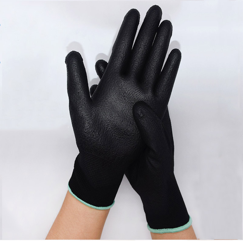 1 Pair PU Coated Working Safety Gloves Nylon Knitted Gloves For Cleaners Driver Worker Builders Gardening Protective Gloves