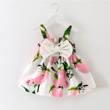 Infant Baby Clothes Brand Design Sleeveless Print Bow Dress Summer Girls Baby Clothing Cool Cotton Party Princess Dresses