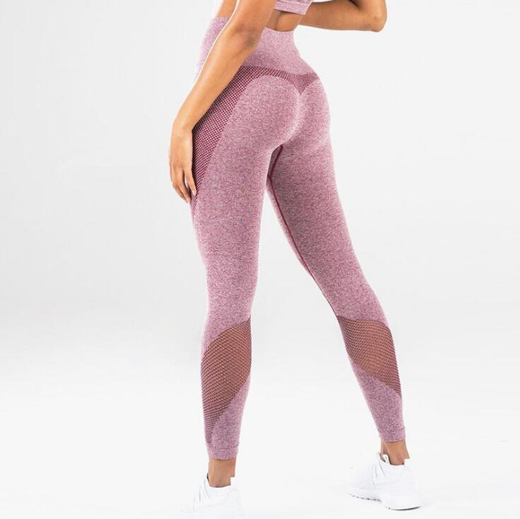 Women Booty Sexy Slim Capris Fitness Workout Pant Blue Pink Grey Butt Lift High Waisted Polyester Casual   Leggings