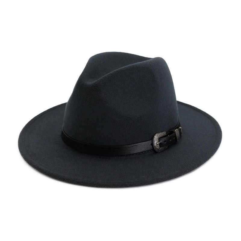 2019 Kadın Erkek yün fötr şapka Deri Vintage Fötr Kapaklar Bayan Kış Sonbahar Geniş Brim Caz Kilise Panama Fötr şapka Kap
