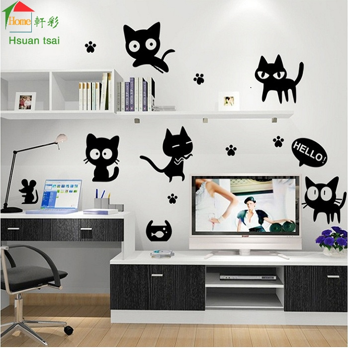 cat cute diy vinyl wall stickers for kids rooms home decor art decals
