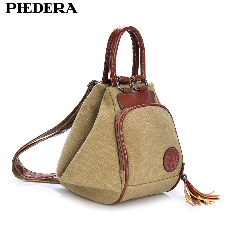 PHEDERA Classic Female Vintage Canvas Backpacks Korean Fashion Teenager Rucksack Casual Khaki Backpack For Women Back Pack