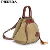 Pedera классические женские винтажные рюкзаки из хлопка корейский модный рюкзак для подростка Повседневный Рюкзак цвета хаки для женщин