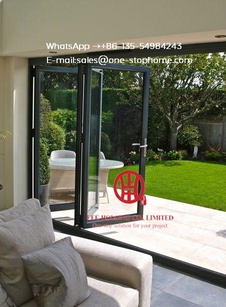 Aluminum Bi Folding Door Insulated Accordion Glass Doors Lowes Pella,Sliding Soundproof Luxury Exterior Patio Glass Accordion