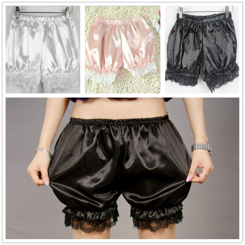 Fashion Women Elasticity Satin Knickers Panties Lace Bow Cute Safety Shorts Bloomers Pumpkin Style For Girls