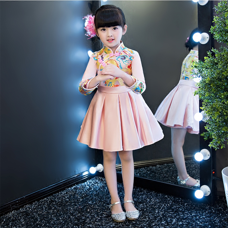 2017 Autumn Winter New Thick Warm Children Girls Princess Party Dress Sweet Pink Color Beautiful Pattern Birthday Costume Dress uoipae party dress girls 2018 autumn