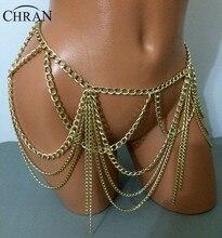 Chran Gold Silver Color Dangle Multilayer Tassel Women Sexy Bikini Beach Body Chain Link Necklace Belly Waist Slave Chain BCJ605