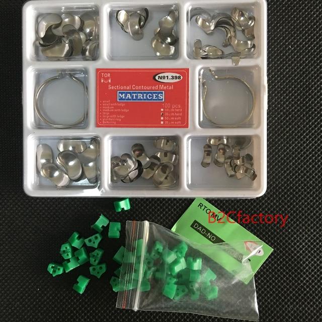 100 piezas dentales matriz transversal contorneado Matrices Kit completo + 40 piezas de silicona Dental añadir en cuñas