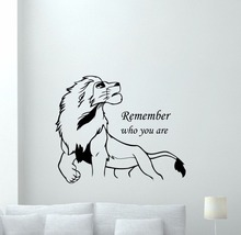 Lion King Simba Cartoon With  Remember Who You Are Quote Wall Sticker Kids Teen Boys Girls Room Decoration Vinyl Art Design W87