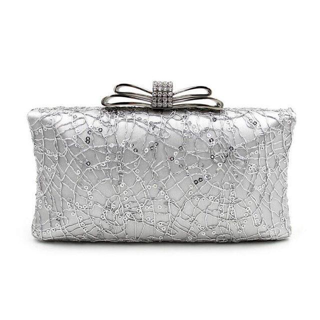 2017 Women Hot Sale Rhinestones Beaded Evening Bag Diamond Bowknot Clutch Crossbody Bags Party Wedding Chains Purse Bolso 130249