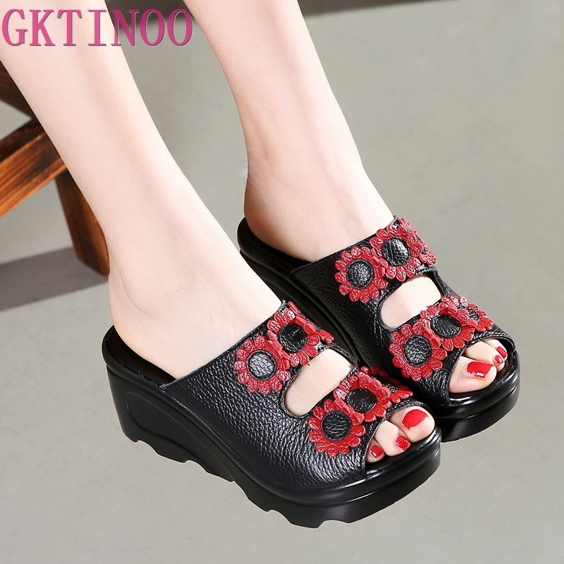 2019 Summer Women Shoes Wedges Slippers Platform Sandals Genuine Leather Handmade Flower Peep Toes Comfotable Women