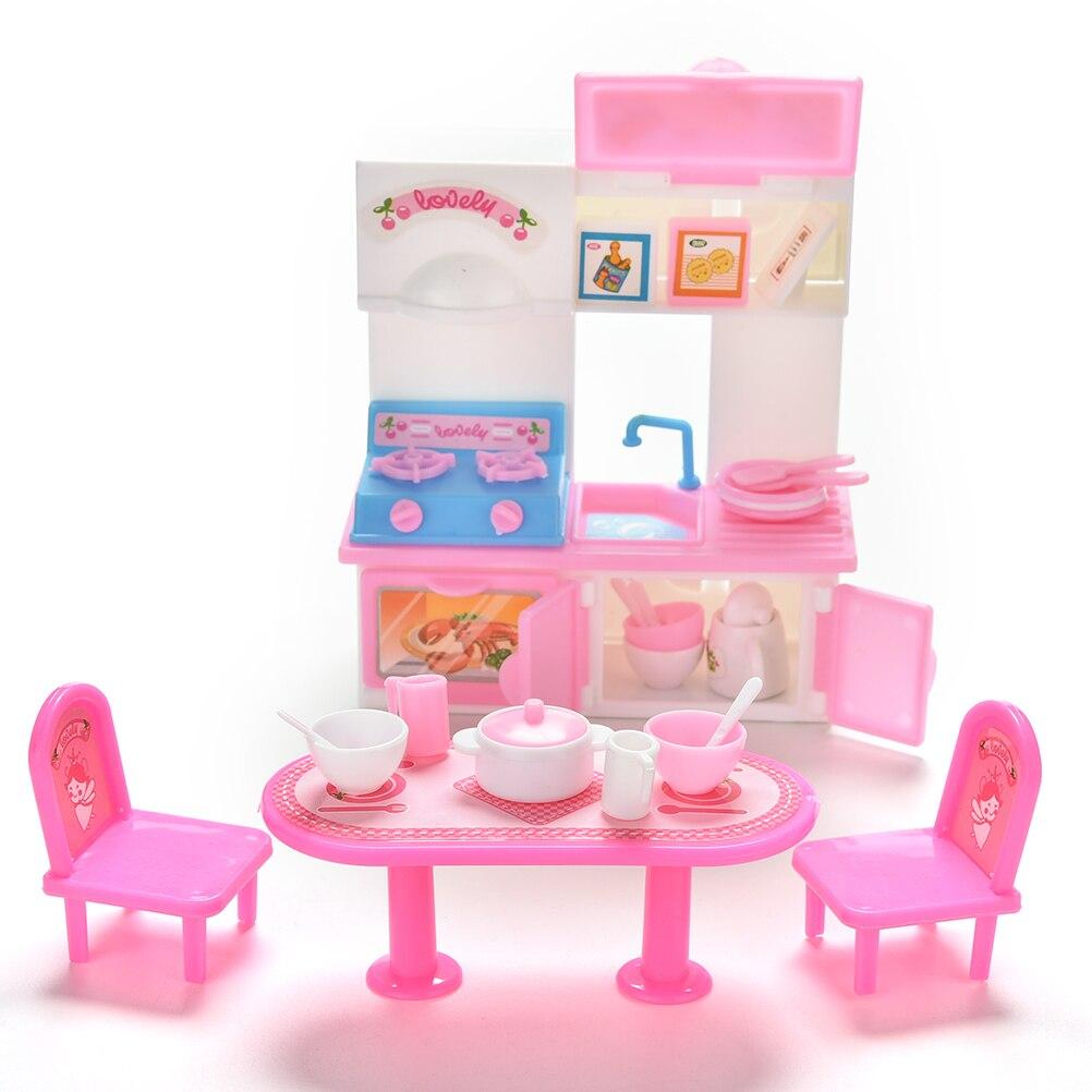 20 pçs/set venda quente criativo utensílios de cozinha jantar mesas armário pia para bonecas bonecas acessórios jogar casa brinquedos atacado