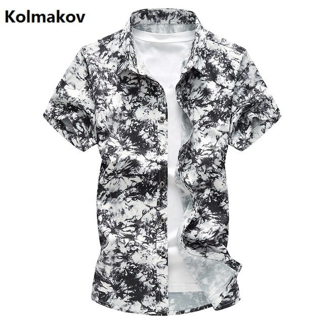 4567e8b9151 KOLMAKOV 2017 summer new style shirt men s casual fashion 100% cotton  printing short sleeved shirts