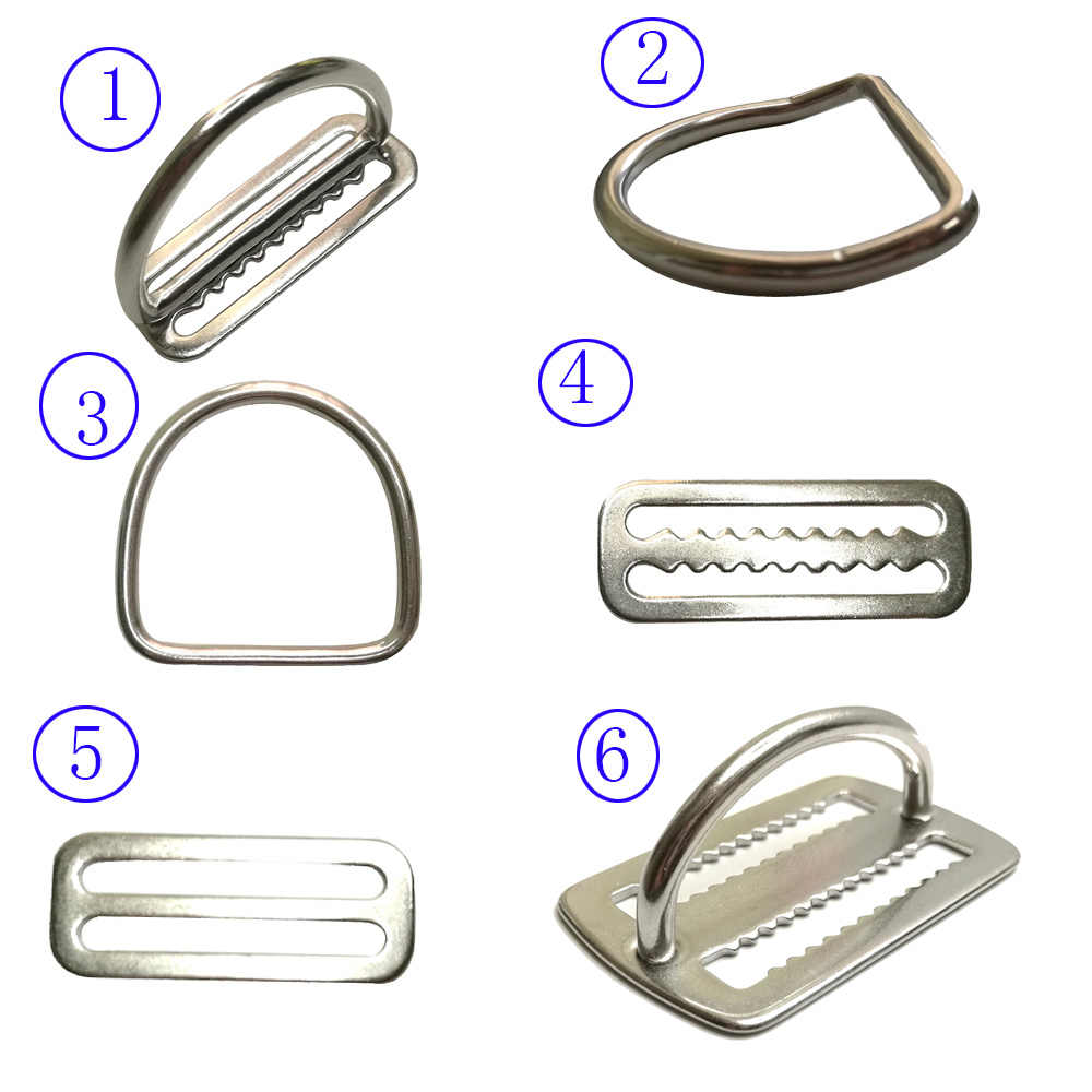 "2 ""Stainless Steel Scuba Diving Berat Belt Slide Penjaga Cincin D Anyaman Harness Belt Pengikut Stopper Freediving BCD Aksesoris"