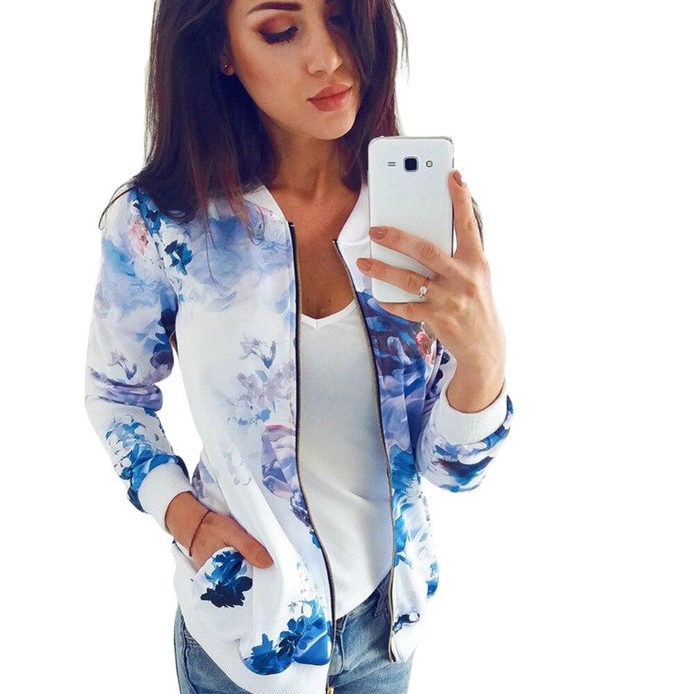 Flower Floral Print Baseball   Jacket   Bomber   Jacket   Women   Basic   Coats Long Sleeve Top Streetwear Zipper Casual Outwear Autumn 2019