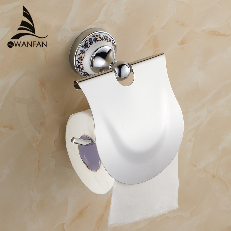 Paper Holder Metal Chrome Silver Toilet Roll Paper Towel Holder Blue White Porcelain Bathroom