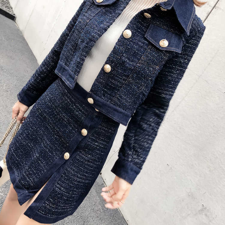 5b109c8743 ... YD-EVER Tweed Denim 2 Piece Set Winter Women Gold Single-Breasted Long  Sleeve