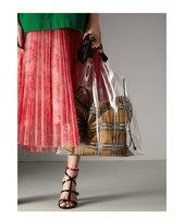 women's bag British wind striped handbags versatile shoulder Messenger bag simple transparent buns mother bag