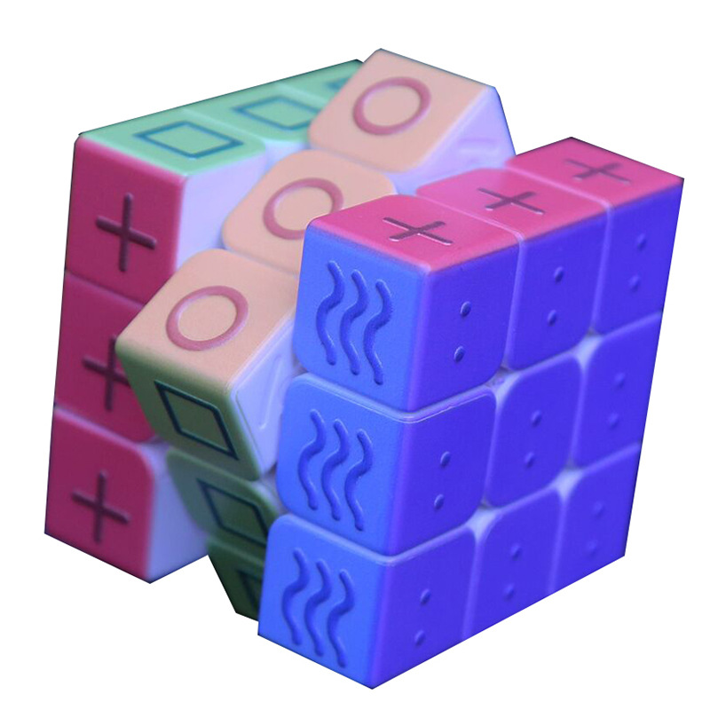 Geometry Color Magic Cube 3x3x3 Blind Braille Fingerprint Speed Puzzle Cube 3D Relief Educational Toys For Children